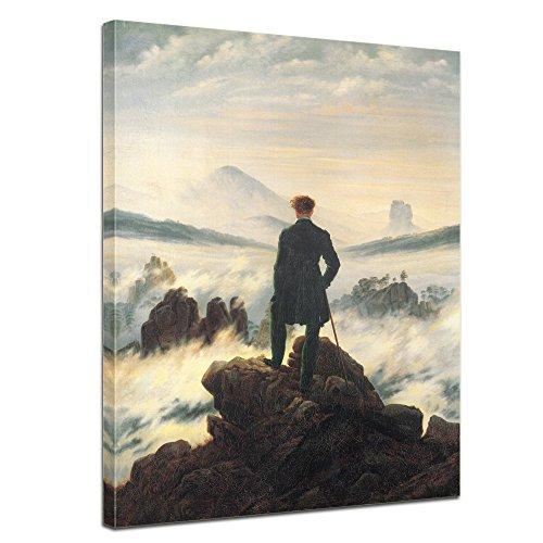 """Bilderdepot24 tela immagine Caspar David Friedrich - Antichi Maestri """"Viandante sul mare di nebbia"""" 60x80cm - completamente incorniciato, direttamente dal produttore"""