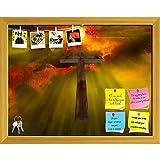 ArtzFolio Wood Cross Hangs In Sky Printed Bulletin Board Notice Pin Board cum Golden Framed Painting 15.2 x 12inch