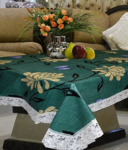 Kuber Industries Green Flower Waterproof Center Table Cover 4 Seater (40*60 Inches)