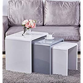 GOLDFAN Nest of 3 tables High Gloss Coffee Table Set Nesting Sofa Table Multi-functional End Side Table for Living Room, White & Grey