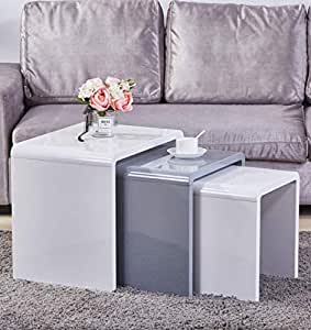 Goldfan Nest Of 3 Tables High Gloss Coffee Table Set Nesting Tables Wood Coffee Table Living Room End Side Tables Multi Functional Side Table White