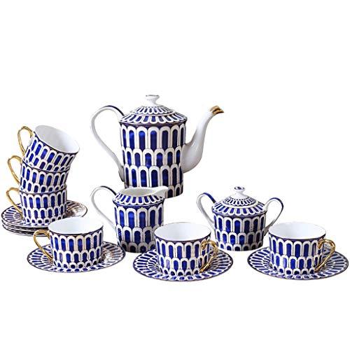 ZHAO ZHANQIANG EIN Satz von 15 Bone China Teetassen/Kaffeetassen und Untertassen-Sets, blaues Muster mit Ständer (6er-Set) (Farbe : Blau) -