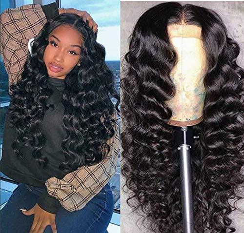 MCYs Perücke, lockiges Haar, für schwarze Frauen, lockige Perücke, Afro-Perücke, Echthaar, Lace-Front, kurz, flauschig, gewellt