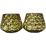 Casa Vendibiles Tea Light Holder DM 02 Antique Gold(set Of 02 Pcs)