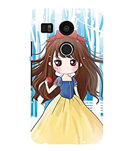 99Sublimation Cute Girl with Red ribbon 3D Hard Polycarbonate Back Case Cover for LG Nexus 5X :: New
