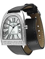 Peugeot Mujer Plateado Doble Wrap de cristal reloj