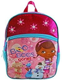 "Disney Doc Mcstuffins 16"" Large Backpack School Bag - Printed With Lambie, Stuffy And Chilly Characters"