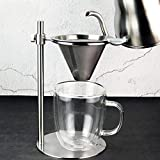 Storagc Stainless Steel Coffee Filter Set,Reusable Pour Over Coffee Filter Cone with Adjustable Ring Height & Removable Cup Stand coffee filters