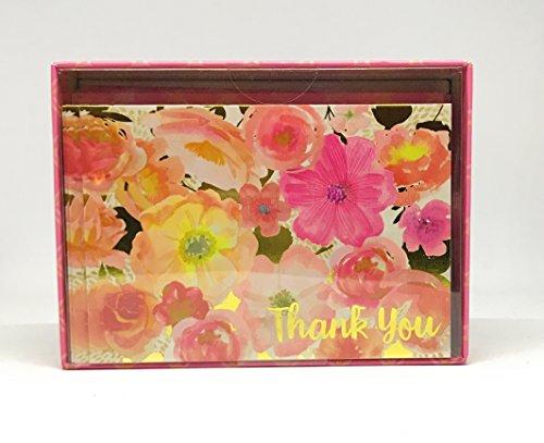 Punch Studio 12Pink Floral Gold Folie, ausgeschmückt Thank You blanko Note Karten mit Umschlägen -
