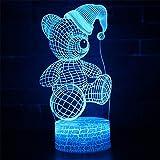 Lozhz 3D Toque Usb Noche De Colores De Luz Led De Dibujos Animados Los Niños Acrílico Regalo De Cumpleaños De Navidad Lampara De Mesa Luz Sombrero De Navidad Oso