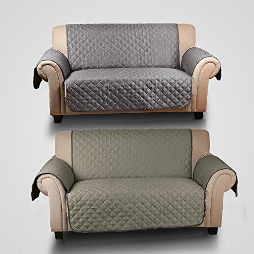 KINLO wasserfest Sesselschoner Anti-Rutsch Schonbezug mit Armlehnen Doppelseitig Sesselauflage Sesselschutz 2 sitzer Sofa Matte für Hunde/ Katzen 167cm*112cm (dunkel grau/ hell grau)