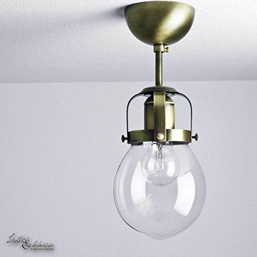 Formschöne Deckenleuchte in Messing gebürstet Vintage Design Industrie 1x E27 bis zu 60 Watt 230V aus Glas & Metall Flur Küche Esszimmer Lampe Leuchten innen