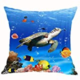 longkouishilong Kissenbezüge The Underwater World Turtle Various of Fish Bubble Coral Cotton LinenCushion Case Home Chair Office Decorative Square 18 X 18 inches