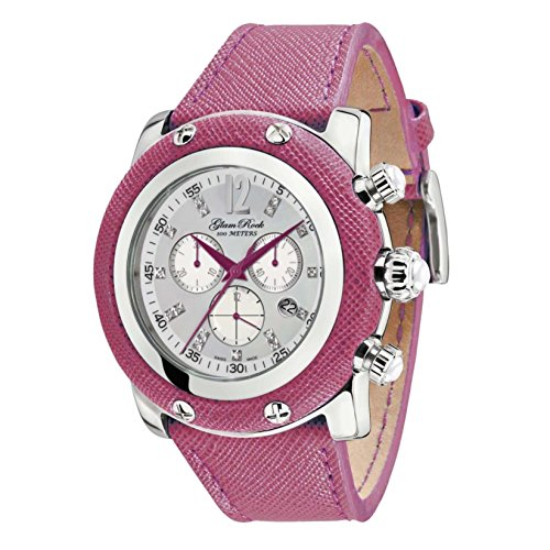 Glam Rock Women's Miami 46mm Pink Leather Band Steel Case Swiss Quartz Silver-Tone Dial Watch GR11104