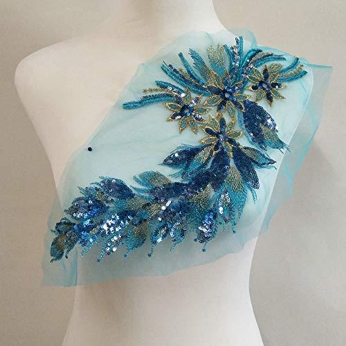 1 Stück DIY Spitze Pailletten bestickt Patches für Kleidung Pfau Applikation Stickerei Hochzeit Kleid Nähen Trim Kleidung Decor seeblau -