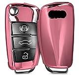 kwmobile Accessoire Clef de Voiture pour Audi - Coque en Silicone pour clé Audi Pliable 3-Touches - Housse de Protection Or rosé Haute Brillance