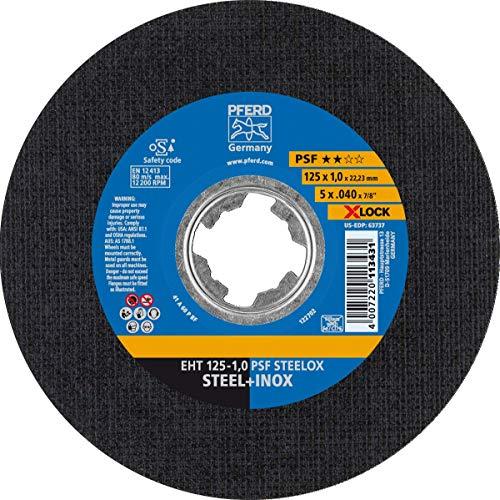 PFERD Trennscheibe, 25 Stück, 125 x 1,0mm, gerade, X-LOCK, PSF STEELOX (22,23 mm), 61721101 - für schnelle und komfortable Werkzeugwechsel