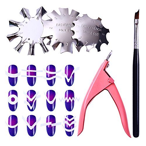 Born Pretty Nail Art French Tip Set Line Edge Cutter Stencil Trimmer Styling Guide Manicure Cuticle Nipper Clipper -