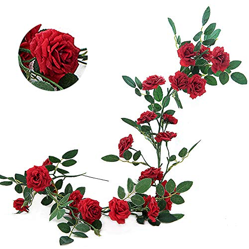 Greentime Künstliche Blumen samtig Rose Garland Vine 6Füße Zum Aufhängen Ivy Pflanzen für Home Party Hochzeit Garten Decor 2 Pcs Red - Flower Garland Red