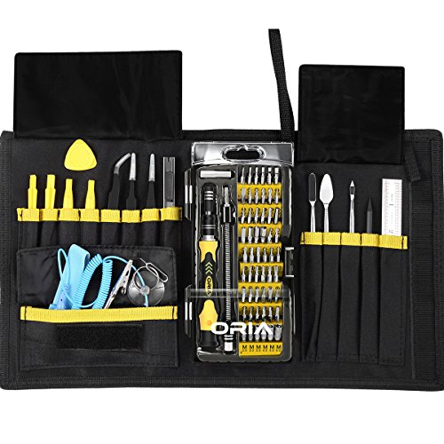 Preisvergleich Produktbild Oria 76 in 1 Schraubendreher Set Magnetic Austauschbar Magnetverschluss Hardware Werkzeugset Reparatur für Kit Pro Tech Toolkit iPad, iPhone, Tablets, Laptops, PC, Smartphones, Box Portable, etc - Gelb