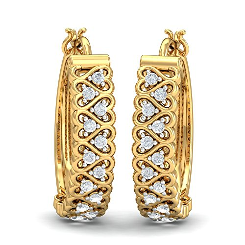 KuberBox 18KT Yellow Gold and Diamond Hoop Earrings for Women
