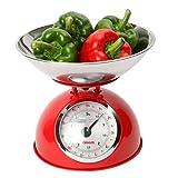 Dexam Bilance Da Cucina Retrò In Colore Rosso - Ciotola 2L In Acciaio Inox - Pesa Fino A 5 Kg (Confezione da 2)