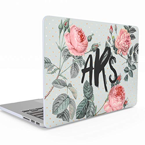 Personalisierte Schützhülle Vintage Custom Pale Rosa Roses Blumen Monogram Sign Initialen für MacBook Pro 15 Zoll with Touch Bar Model: A1707 / A1990 Release 2016-2018 Schütz Hülle Hard Case Cover - Vintage-rose-taste