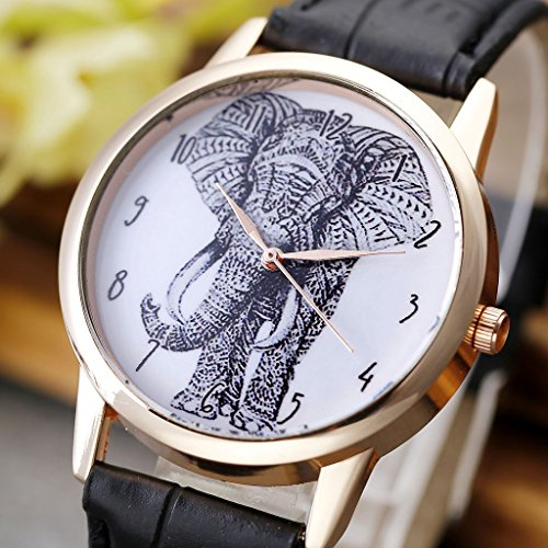 JSDDE Uhren,Vintage Damen Armbanduhr Skizze Elefant Zifferblatt Armbanduhr Leder Armband Analog Quarz Uhr,Schwarz - 4