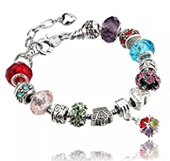 Idea Regalo - Bracciale in argento per ciondoli con perline in vetro di Murano, stile europeo, 20 cm, compatibile con charm Pandora e Argento, colore: 3 Multicoloured, cod. 3Multicoloured