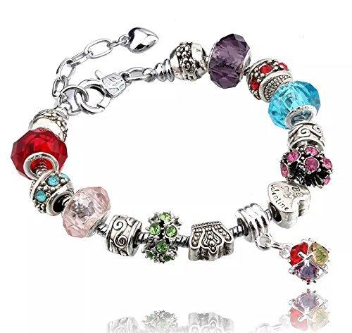 Bracciale in argento per ciondoli con perline in vetro di murano, stile europeo, 20 cm, compatibile con charm pandora e argento, colore: 3 multicoloured, cod. 3multicoloured