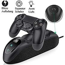 ECHTPower PS4 Controller Ladestation, Playstation 4 Ladestation, PS4 Docking Station Charger PS4 Zubehörsets mit LED Anzeige und EIN/AUS Schalter für Sony PS4 Slim Pro Dualshock 4 Controller Gamepad