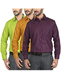 Mark Pollo Cotton Rich Fabric With Linen Look Slim Fit Formal And Semi Formal Combo Of 3 Shirts For Men (Green...
