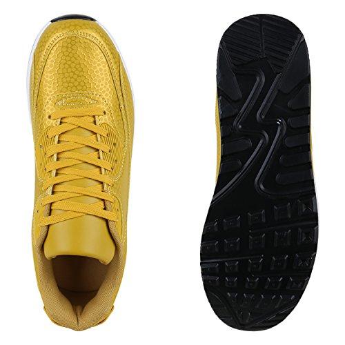 Stiefelparadies Trendige Unisex Schuhe Damen Herren Kinder Sportschuhe Metallic Camouflage Turnschuhe Blumen Sneaker Low Bunt Glitzer Muster Schnürer Flandell Gelb Muster
