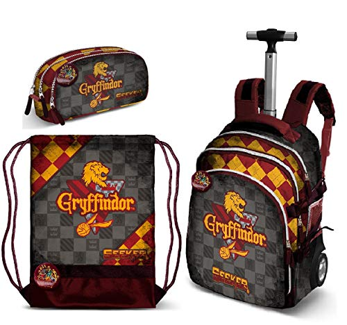 Harry Potter Gryffondor Zaino Trolley Scuola,Astuccio Organizzato, Sacca Sport