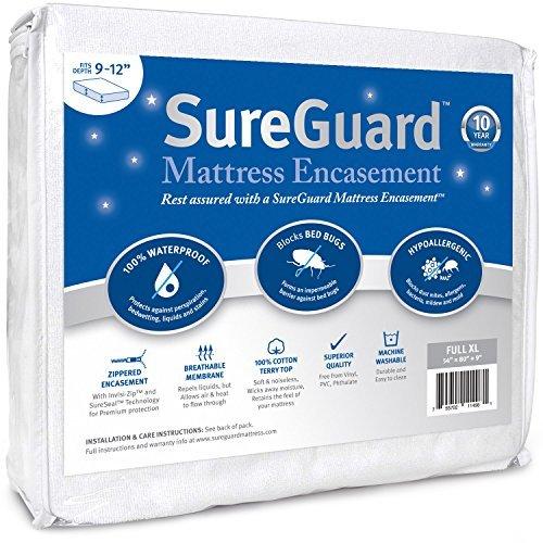 SUREGUARD Matratze umgreifung-100% wasserdicht, Bed Bug Proof, hypoallergen-Premium Reißverschluss sechsseitig Bezug-10Jahre Garantie, 22,8-30,4 cm (9-12 Zoll) tief, weiß, Full XL