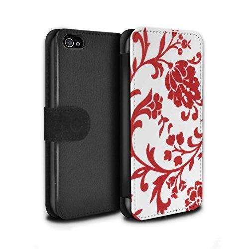 Stuff4 Coque/Etui/Housse Cuir PU Case/Cover pour Apple iPhone 4/4S / Pack (5 Pack) Design / Motif floral Collection Fleurs Rouge