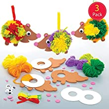 Baker Ross AW938 Hedgehog Pom Kits, Arts and Crafts for Kids (Pack of 3), Assorted