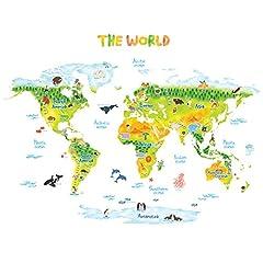 Idea Regalo - DECOWALL DMT-1715S Geologica Mappa del Mondo Animali Adesivi da Parete Decorazioni Parete Stickers Murali Soggiorno Asilo Nido Camera da Letto per Bambini (Grande) (Ver. Inglese)