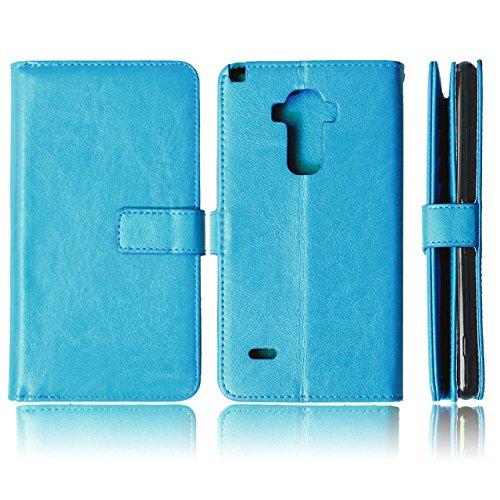 LG G4 STYLUS Fall, Solid Color-Qualität PU-Leder-Kasten-Abdeckungs-Standplatz-Mappen-Kasten für LG G4 STYLUS ( Color : Blue , Size : G4STYLUS ) Blue
