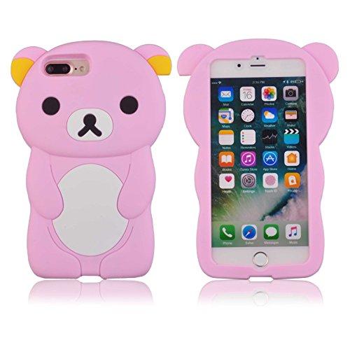 Voguecase® für Apple iPhone 7 Plus 5.5 hülle, Schutzhülle / Case / Cover / Hülle / TPU Gel Skin (Katzenbär Muster/Lila) + Gratis Universal Eingabestift Bär/Pink