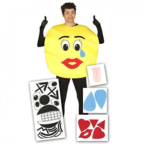 Emoticon Kostüm Smile - Kostüm Smile mit Aufklebern Einheitsgröße Lachendes Gesicht Fasching JGA Emoticons