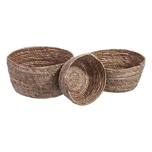 Conjunto de cestas de Fibra marrón Redondas Trenzadas rústicas - LOLAhome