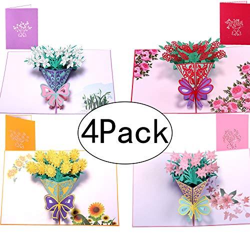 Paper Spiritz Pop Up Karten 4 Set Blumen, Blumenstrauß, Geburtstagskarte, Jubiläum, Dankeskarte, mit Umschlag, Laserschnitt und Handmachen