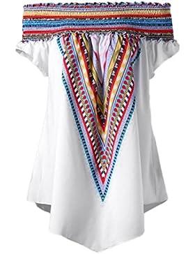 LHWY Camisetas Hombro Descubierto Mujer Camisetas ÉTnica Con Estampado Camisetas Tallas Grandes Verano Morado...