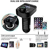 TRUE STORE; X8 Dual USB Car Charger Hands-free Wireless Bluetooth FM Transmitter & Music Adapter, 2.0A & 1.0A Dual USB Port LCD MP3 Player Which Supports TF Card And U Disk. Samsung Galaxy J5