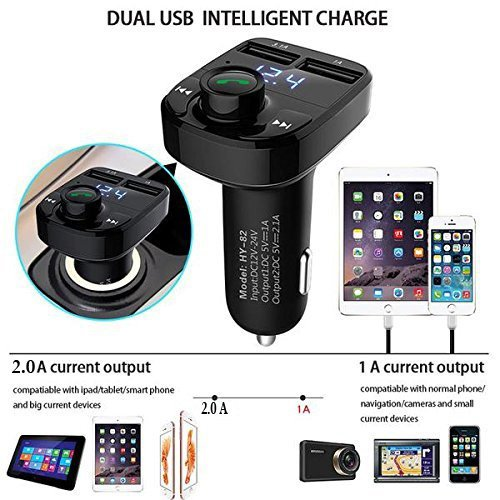 TRUE STORE; X8 Dual USB Car Charger Hands-free Wireless Bluetooth FM Transmitter & Music Adapter, 2.0A & 1.0A Dual USB Port LCD MP3 Player Which Supports TF Card And U Disk. MI NOTE 3