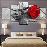 Meaosy Leinwand Gemälde Wandkunst Hd Prints Wohnkultur 5 Stücke Schöne Rote Rose Poster Für Wohnzimmer Blumen Bilder -40X60/80/100Cm