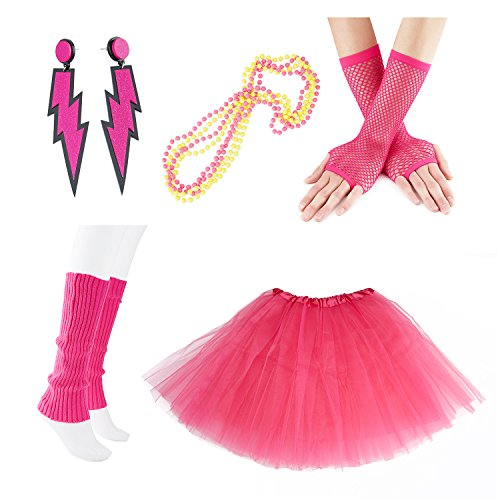 80s Party Costume Set for Women with Neon Skirt and Accessories. Standard size in many colours