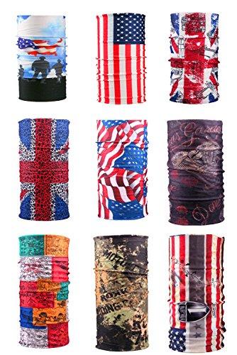 E-db multiuso fascia bandana scaldacollo foulard 9pack copricapo sciarpa ciclismo, climb, hiking donne, uomo, bambini (flag)