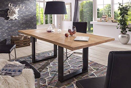 Mesa de comedor de madera de roble salvaje algodón borde roble ...